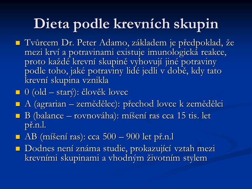 Dieta podle krevních skupin Tvůrcem Dr.