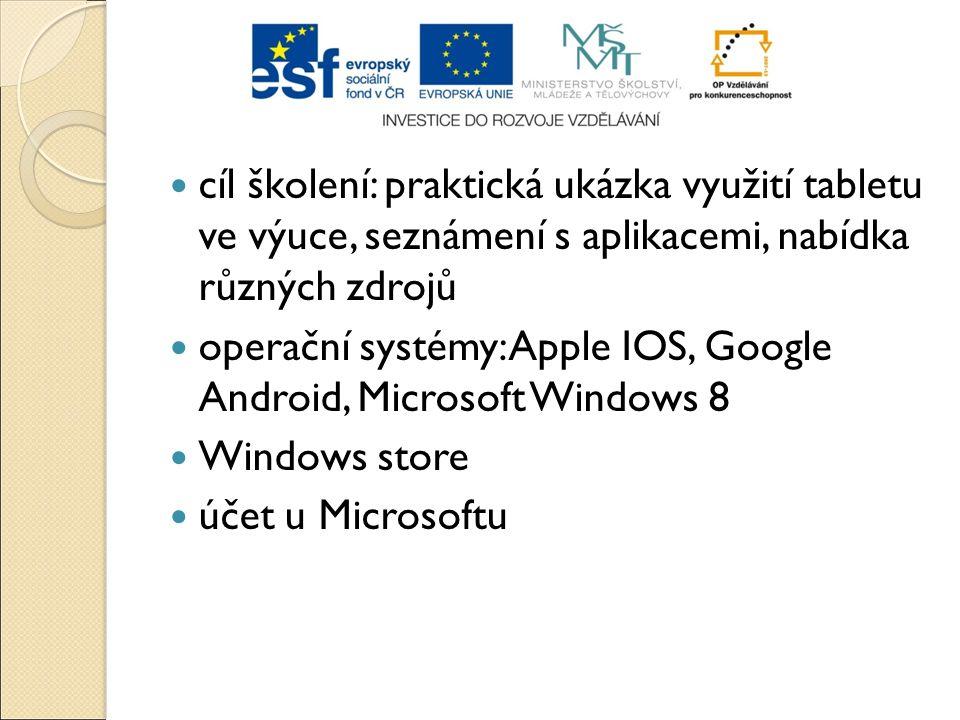 cíl školení: praktická ukázka využití tabletu ve výuce, seznámení s aplikacemi, nabídka různých zdrojů operační systémy: Apple IOS, Google Android, Mi