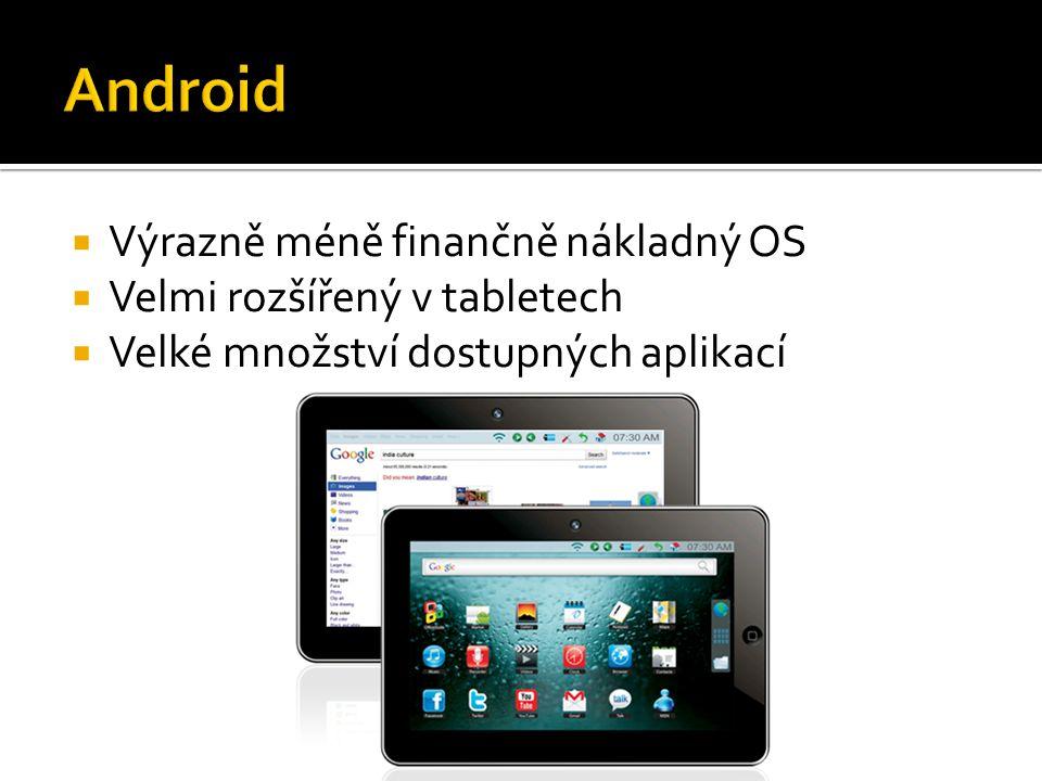  Výrazně méně finančně nákladný OS  Velmi rozšířený v tabletech  Velké množství dostupných aplikací