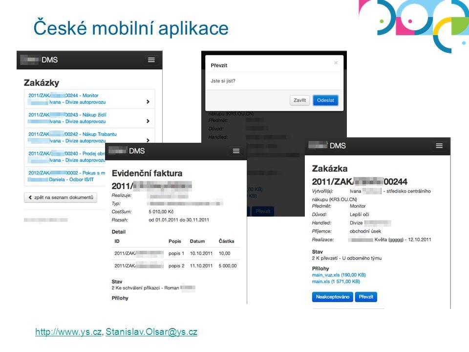 České mobilní aplikace http://www.ys.czhttp://www.ys.cz, Stanislav.Olsar@ys.czStanislav.Olsar@ys.cz
