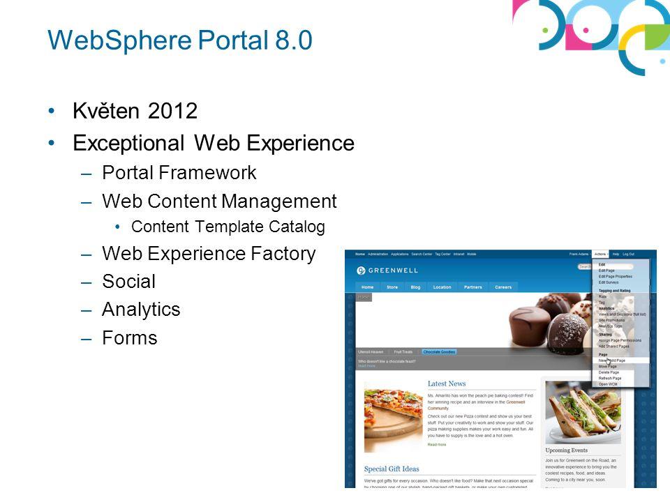 WebSphere Portal 8.0 Květen 2012 Exceptional Web Experience –Portal Framework –Web Content Management Content Template Catalog –Web Experience Factory –Social –Analytics –Forms