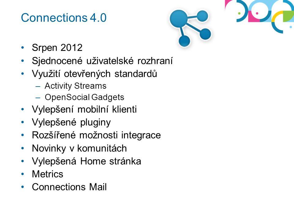 Connections 4.0 Srpen 2012 Sjednocené uživatelské rozhraní Využití otevřených standardů –Activity Streams –OpenSocial Gadgets Vylepšení mobilní klienti Vylepšené pluginy Rozšířené možnosti integrace Novinky v komunitách Vylepšená Home stránka Metrics Connections Mail