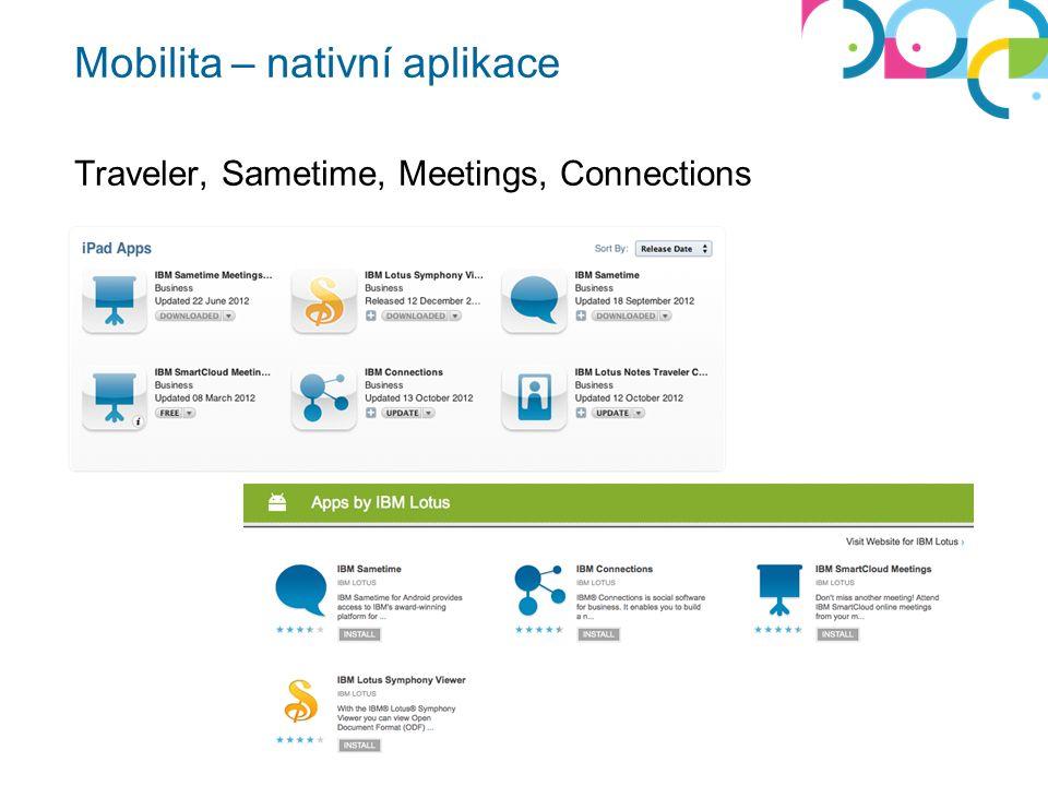 Mobilita – nativní aplikace Traveler, Sametime, Meetings, Connections
