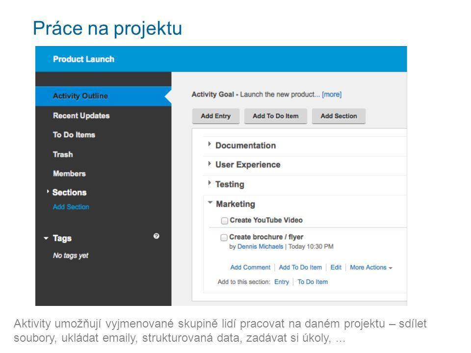 Práce na projektu Aktivity umožňují vyjmenované skupině lidí pracovat na daném projektu – sdílet soubory, ukládat emaily, strukturovaná data, zadávat si úkoly,...