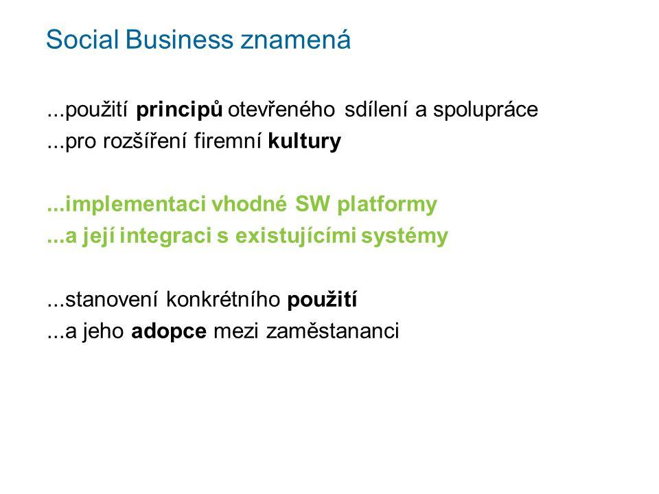 Social Business znamená...použití principů otevřeného sdílení a spolupráce...pro rozšíření firemní kultury...implementaci vhodné SW platformy...a její