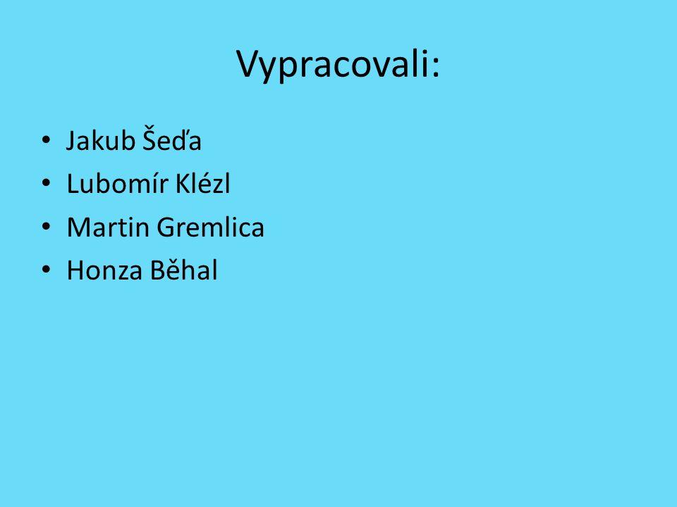 Vypracovali: Jakub Šeďa Lubomír Klézl Martin Gremlica Honza Běhal