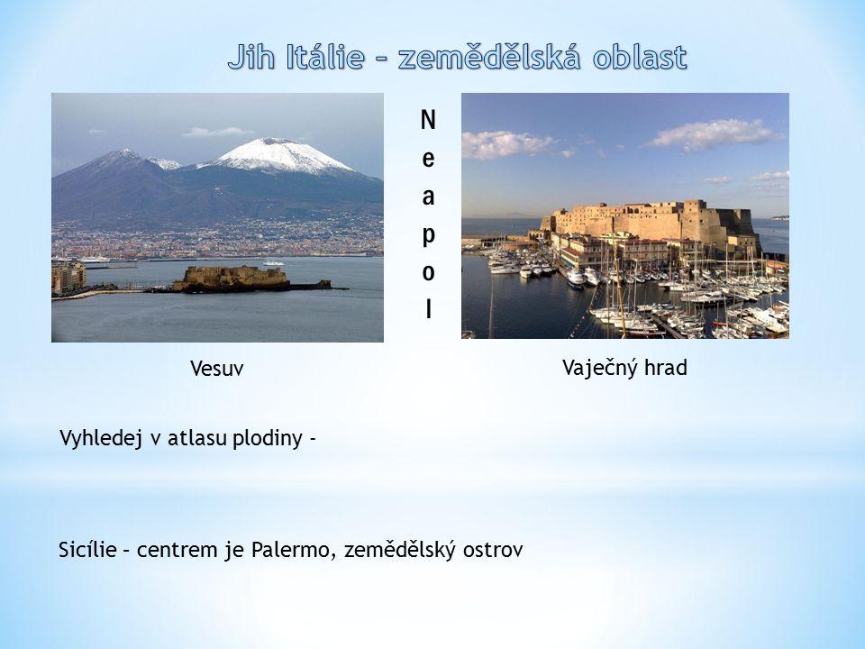 Vesuv Vaječný hrad Vyhledej v atlasu plodiny - Sicílie – centrem je Palermo, zemědělský ostrov