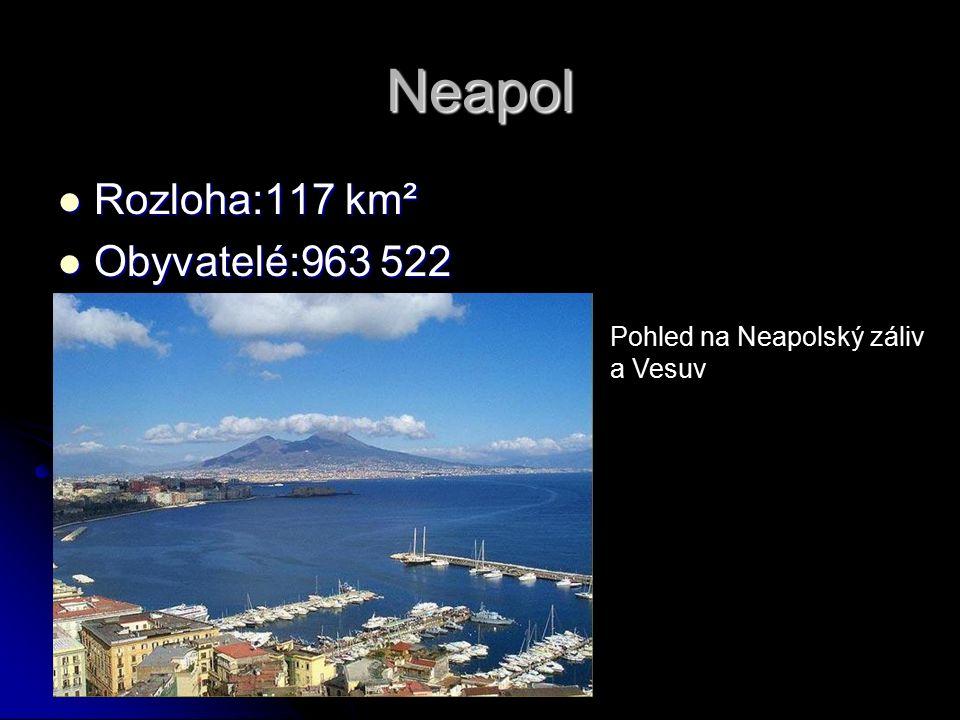 Neapol Rozloha:117 km² Rozloha:117 km² Obyvatelé:963 522 Obyvatelé:963 522 Pohled na Neapolský záliv a Vesuv
