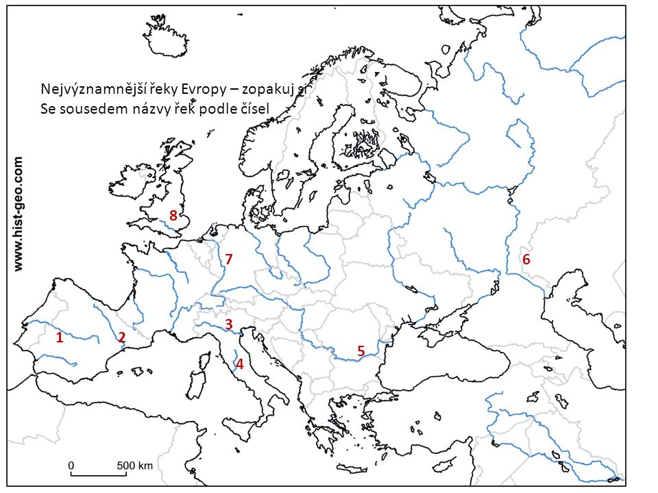 Nejvýznamnější řeky Evropy – zopakuj si Se sousedem názvy řek podle čísel 12 3 4 5 67 8