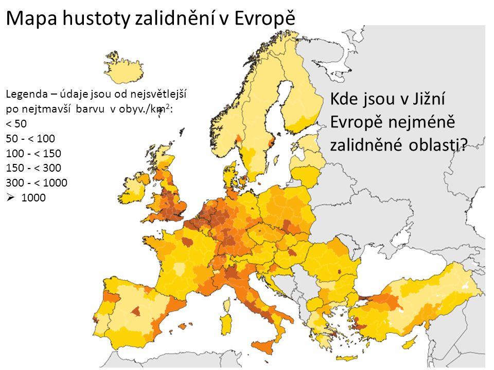 Mapa hustoty zalidnění v Evropě Kde jsou v Jižní Evropě nejméně zalidněné oblasti.