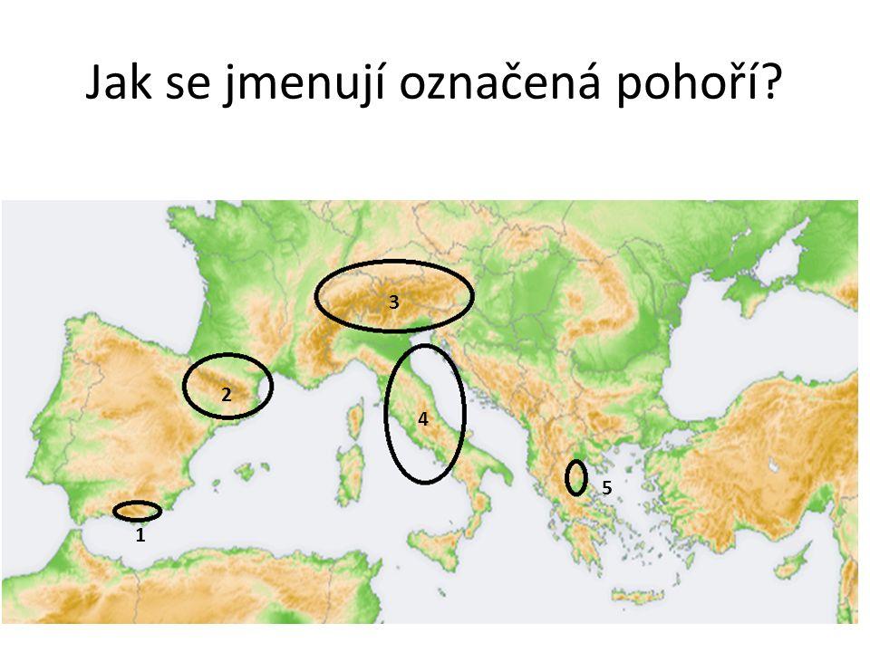 Jak se jmenují označená pohoří 1 2 3 4 5