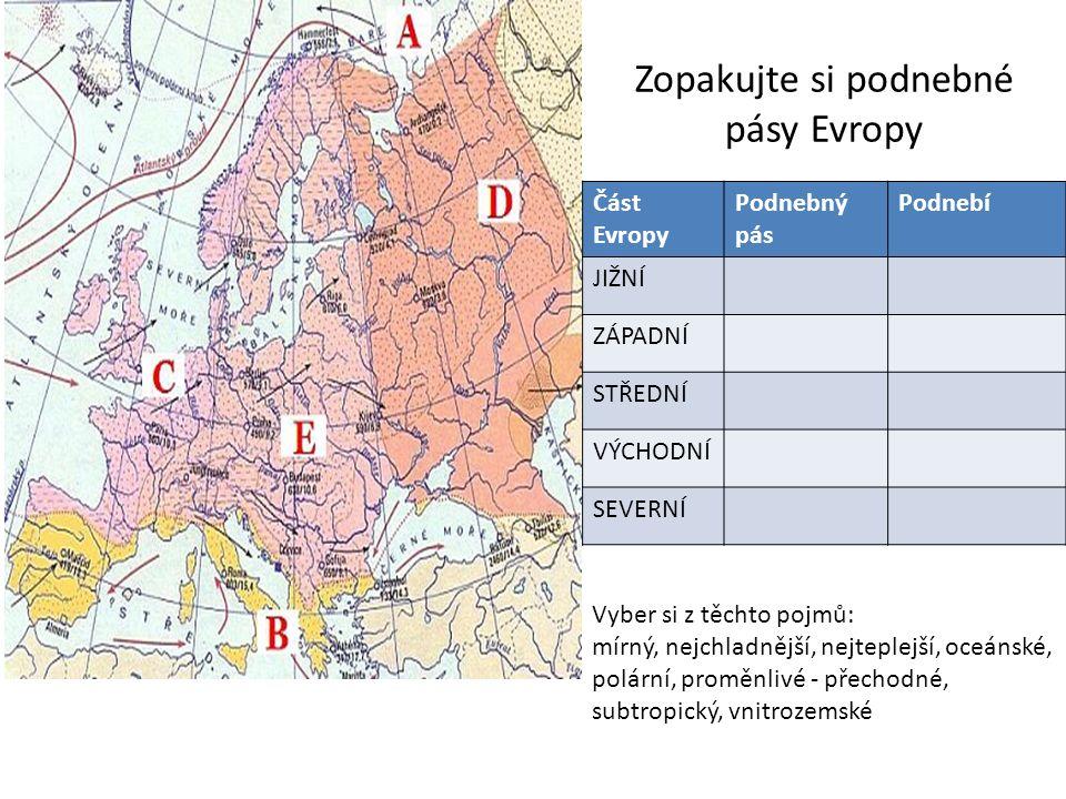 Zopakujte si podnebné pásy Evropy Část Evropy Podnebný pás Podnebí JIŽNÍ ZÁPADNÍ STŘEDNÍ VÝCHODNÍ SEVERNÍ Vyber si z těchto pojmů: mírný, nejchladnější, nejteplejší, oceánské, polární, proměnlivé - přechodné, subtropický, vnitrozemské
