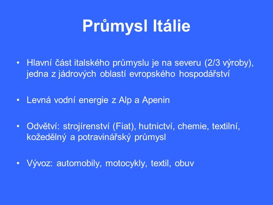 Průmysl Itálie Hlavní část italského průmyslu je na severu (2/3 výroby), jedna z jádrových oblastí evropského hospodářství Levná vodní energie z Alp a Apenin Odvětví: strojírenství (Fiat), hutnictví, chemie, textilní, kožedělný a potravinářský průmysl Vývoz: automobily, motocykly, textil, obuv