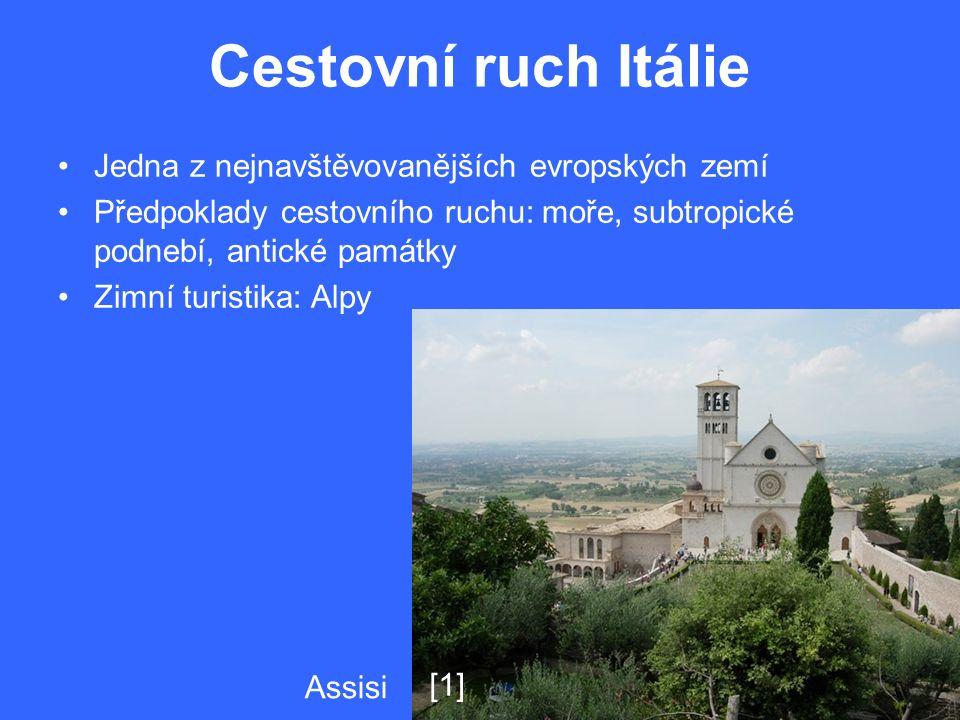 Cestovní ruch Itálie Jedna z nejnavštěvovanějších evropských zemí Předpoklady cestovního ruchu: moře, subtropické podnebí, antické památky Zimní turistika: Alpy Assisi [1]