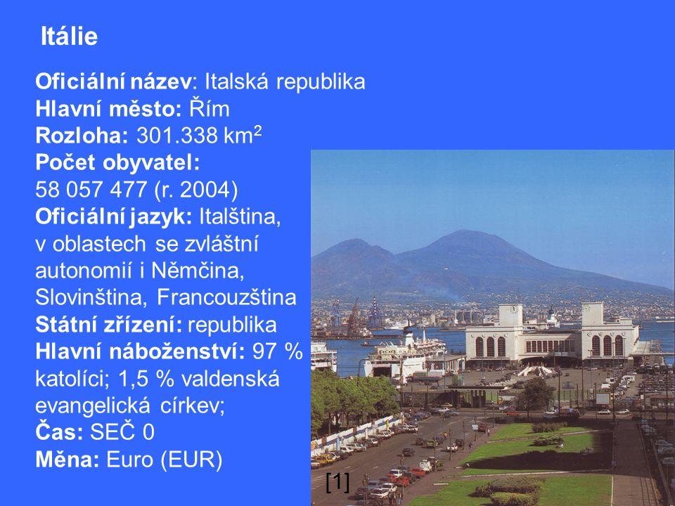 Itálie Oficiální název: Italská republika Hlavní město: Řím Rozloha: 301.338 km 2 Počet obyvatel: 58 057 477 (r.