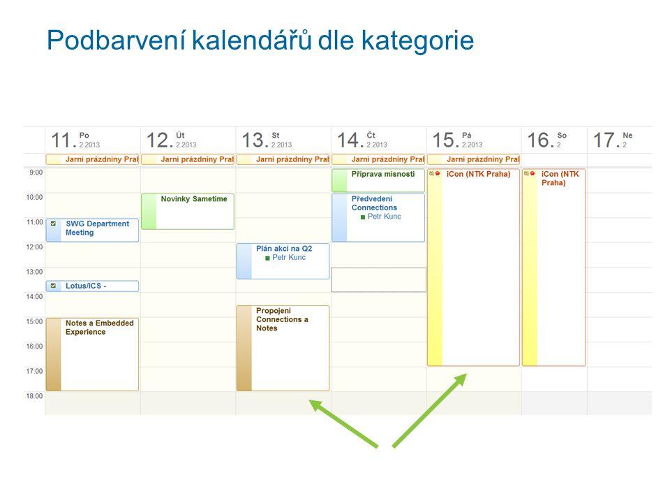 Podbarvení kalendářů dle kategorie