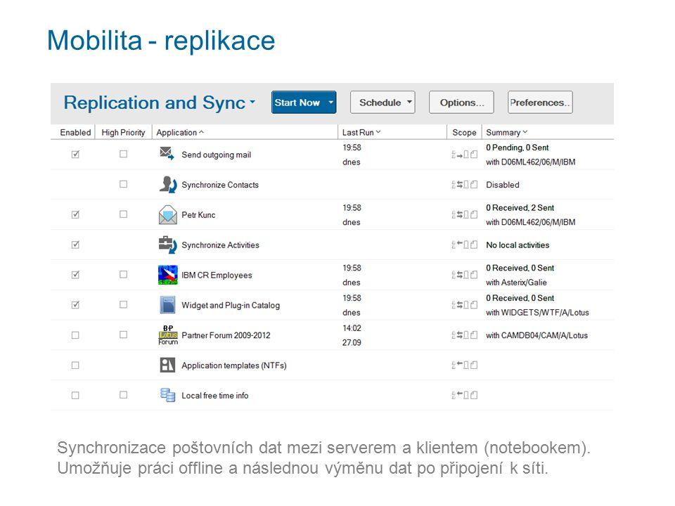 Mobilita - replikace Synchronizace poštovních dat mezi serverem a klientem (notebookem).