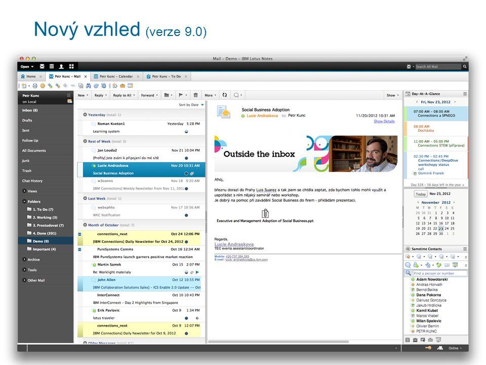 """Inteligentní notifikace Součástí pošty Notes mohou být """"miniaplikace (gadgety), které umožní člověku hned pracovat s určitou infomací, v kontextu (schválit krok ve workflow, stáhnout soubor, sdílet dál s kolegy,...)"""