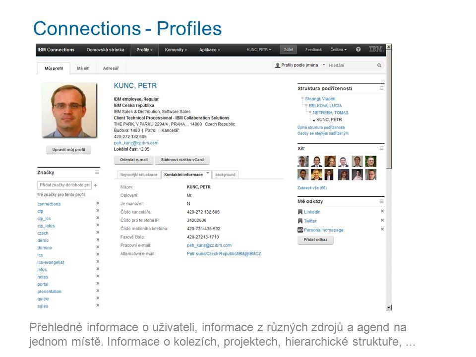 Connections - Profiles Přehledné informace o uživateli, informace z různých zdrojů a agend na jednom místě.