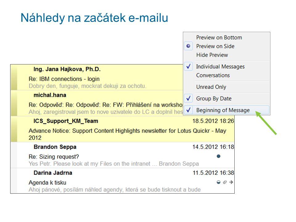 Náhledy na začátek e-mailu