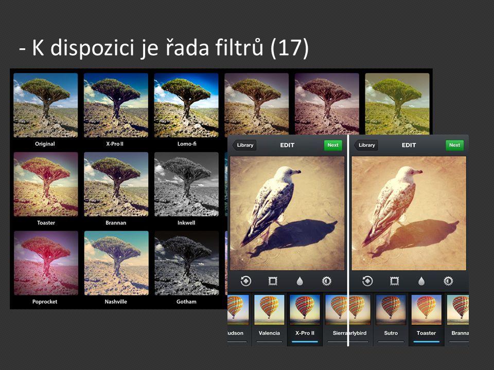 - K dispozici je řada filtrů (17)