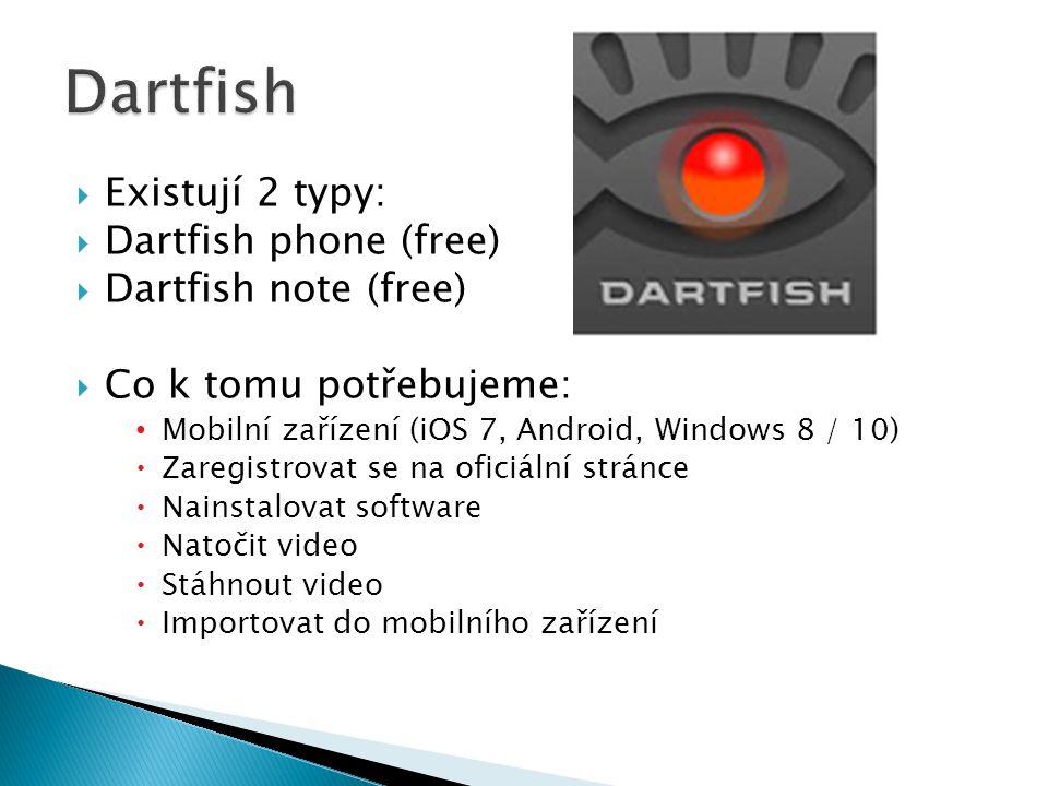  Existují 2 typy:  Dartfish phone (free)  Dartfish note (free)  Co k tomu potřebujeme: Mobilní zařízení (iOS 7, Android, Windows 8 / 10)  Zaregistrovat se na oficiální stránce  Nainstalovat software  Natočit video  Stáhnout video  Importovat do mobilního zařízení
