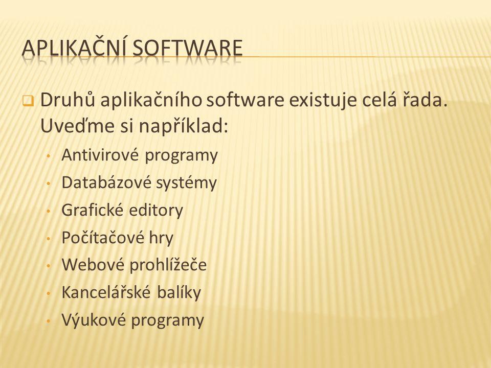  Druhů aplikačního software existuje celá řada.