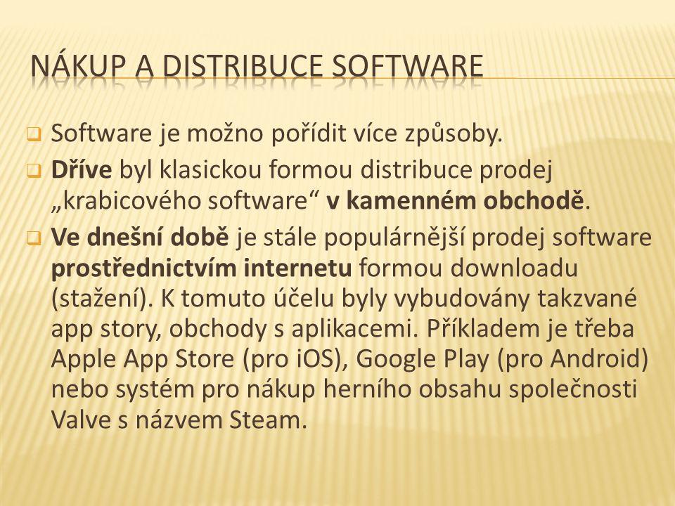 Je třeba si uvědomit, že každý software je distribuován pod určitým typem licence.