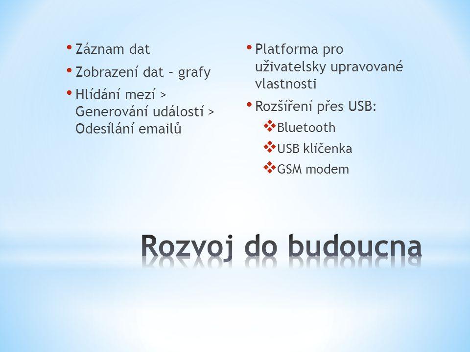 Záznam dat Zobrazení dat – grafy Hlídání mezí > Generování událostí > Odesílání emailů Platforma pro uživatelsky upravované vlastnosti Rozšíření přes USB:  Bluetooth  USB klíčenka  GSM modem