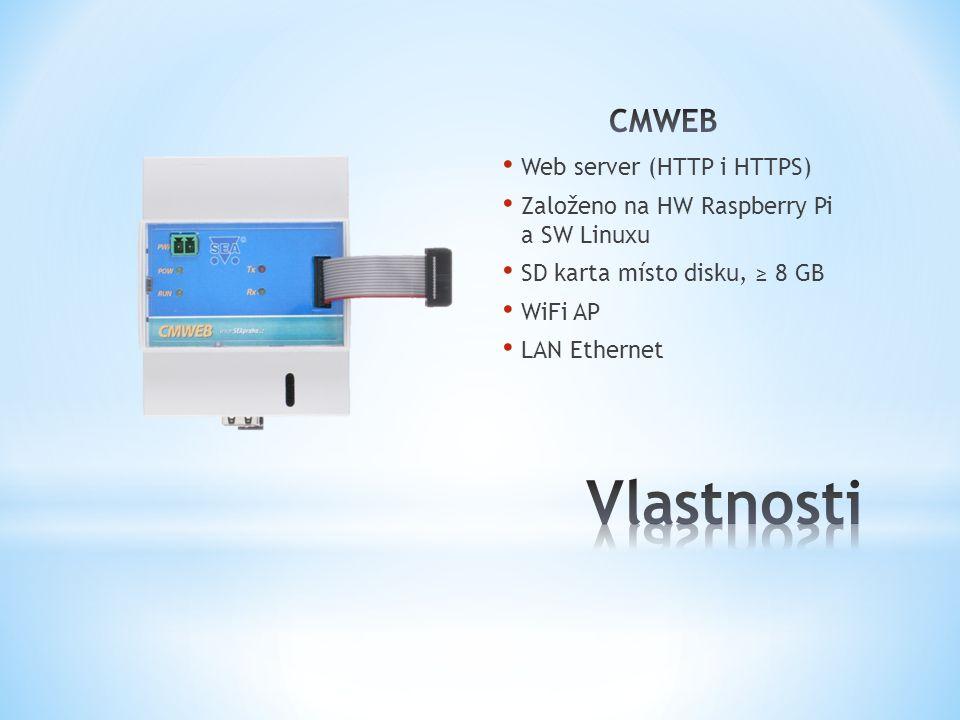 Web server (HTTP i HTTPS) Založeno na HW Raspberry Pi a SW Linuxu SD karta místo disku, ≥ 8 GB WiFi AP LAN Ethernet