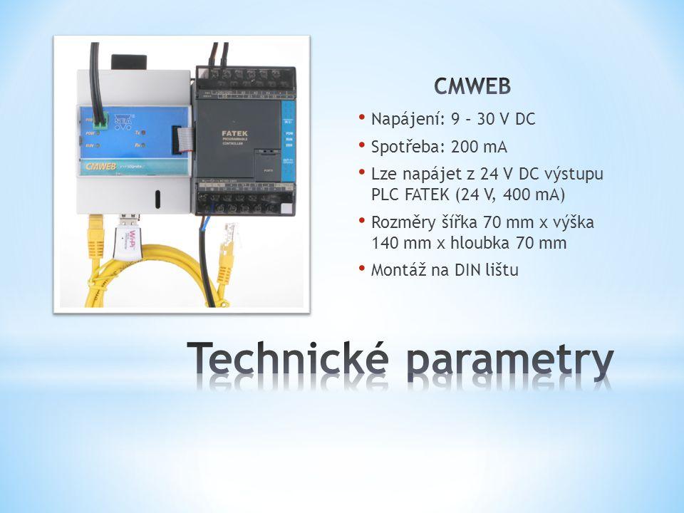 RJ45 konektor, 10/100 MBps Přístup k WEB serveru Konfigurace CMWEB Výměna programu v PLC (HTTPS) AP bod jménem CMWEB WPA2 zabezpečení Přístup k WEB serveru Konfigurace CMWEB Výměna programu v PLC