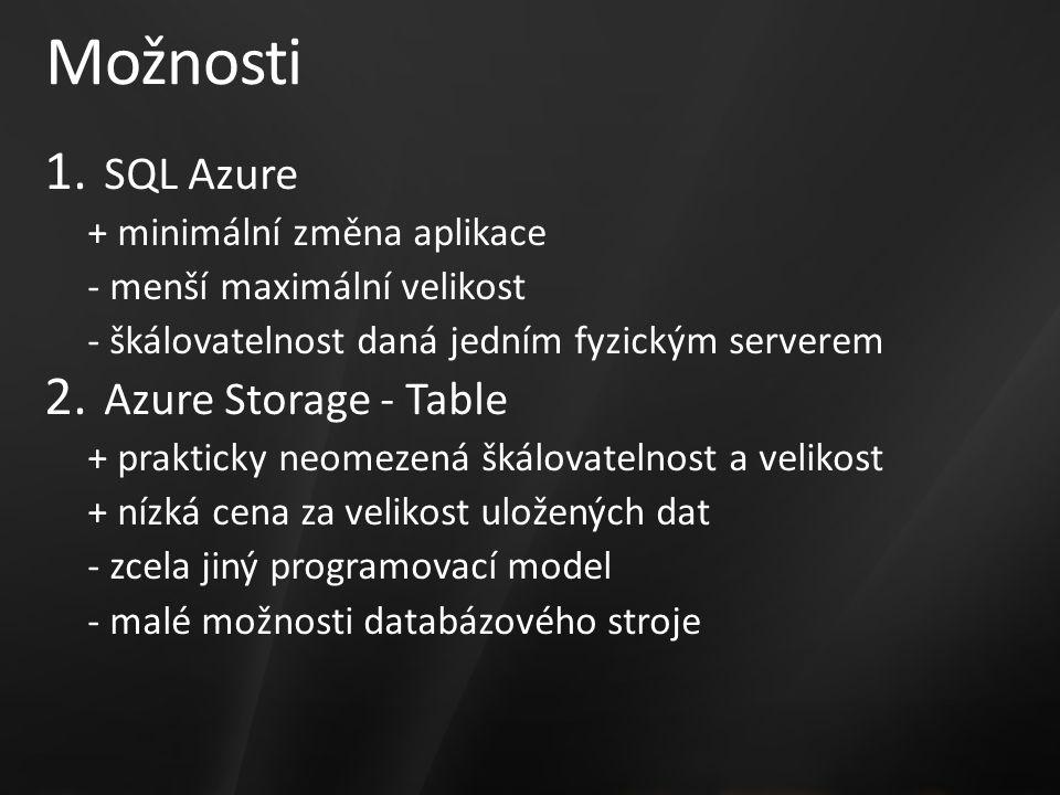 Možnosti 1. SQL Azure + minimální změna aplikace - menší maximální velikost - škálovatelnost daná jedním fyzickým serverem 2. Azure Storage - Table +