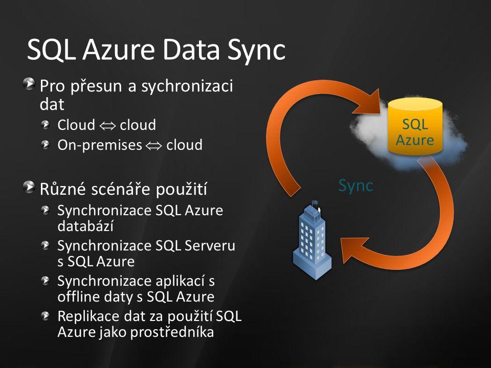 SQL Azure Data Sync Pro přesun a sychronizaci dat Cloud  cloud On-premises  cloud Různé scénáře použití Synchronizace SQL Azure databází Synchronizace SQL Serveru s SQL Azure Synchronizace aplikací s offline daty s SQL Azure Replikace dat za použití SQL Azure jako prostředníka Sync SQL Azure