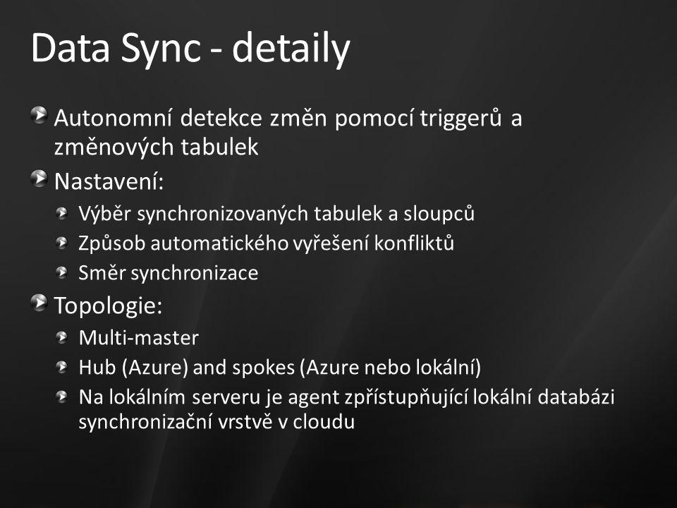 Data Sync - detaily Autonomní detekce změn pomocí triggerů a změnových tabulek Nastavení: Výběr synchronizovaných tabulek a sloupců Způsob automatického vyřešení konfliktů Směr synchronizace Topologie: Multi-master Hub (Azure) and spokes (Azure nebo lokální) Na lokálním serveru je agent zpřístupňující lokální databázi synchronizační vrstvě v cloudu