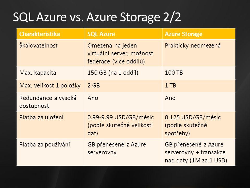 SQL Azure vs. Azure Storage 2/2 CharakteristikaSQL AzureAzure Storage ŠkálovatelnostOmezena na jeden virtuální server, možnost federace (více oddílů)