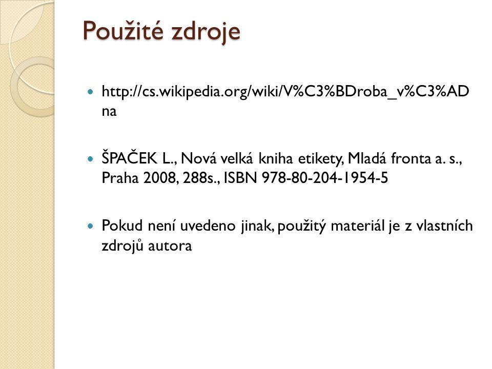 Použité zdroje http://cs.wikipedia.org/wiki/V%C3%BDroba_v%C3%AD na ŠPAČEK L., Nová velká kniha etikety, Mladá fronta a.