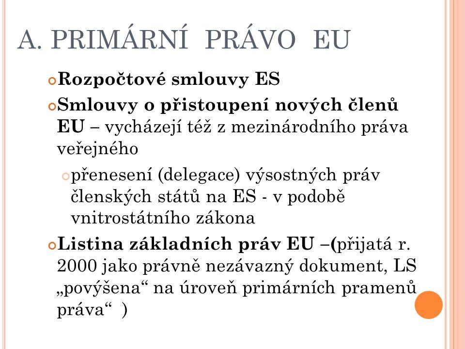 A. PRIMÁRNÍ PRÁVO EU Rozpočtové smlouvy ES Smlouvy o přistoupení nových členů EU – vycházejí též z mezinárodního práva veřejného přenesení (delegace)