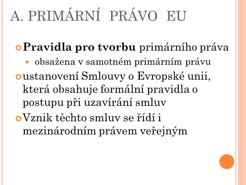 A. PRIMÁRNÍ PRÁVO EU Pravidla pro tvorbu primárního práva obsažena v samotném primárním právu ustanovení Smlouvy o Evropské unii, která obsahuje formá