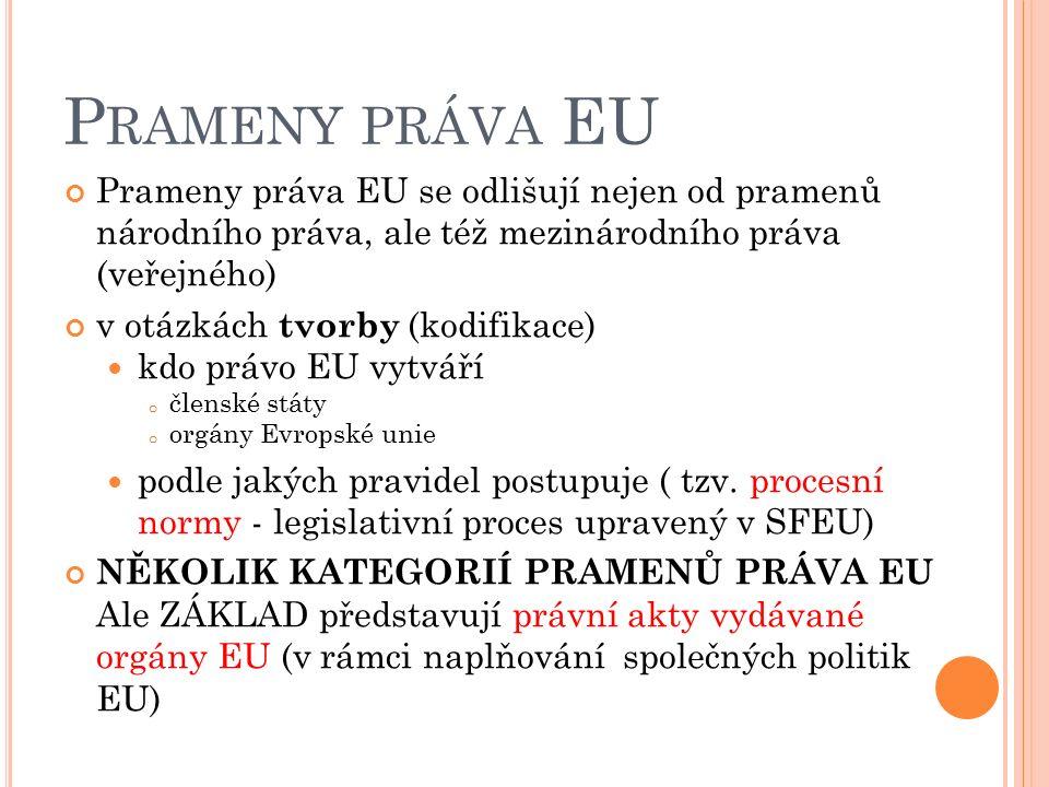 P RAMENY PRÁVA EU Prameny práva EU se odlišují nejen od pramenů národního práva, ale též mezinárodního práva (veřejného) v otázkách tvorby (kodifikace) kdo právo EU vytváří o členské státy o orgány Evropské unie podle jakých pravidel postupuje ( tzv.