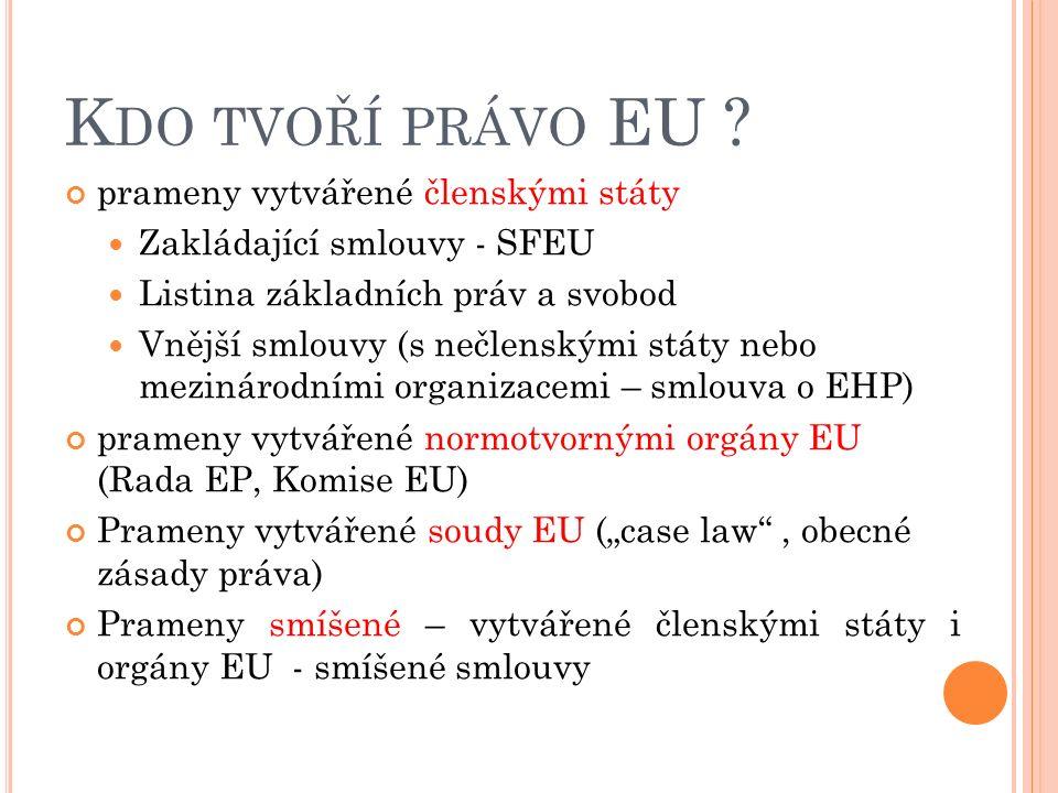 H IERARCHIE PRAMENŮ PRÁVA EU A.PRIMÁRNÍ PRÁVO EU ( akty členských států ) B.Rozhodnutí představitelů vlád a států v rámci Evropské rady (s prvky mezinárodního práva veřejného) C.OBECNÉ ZÁSADY PRÁVNÍ ( nepsané právo EU) D.VNĚJŠÍ SMLOUVY a smíšené smlouvy E.
