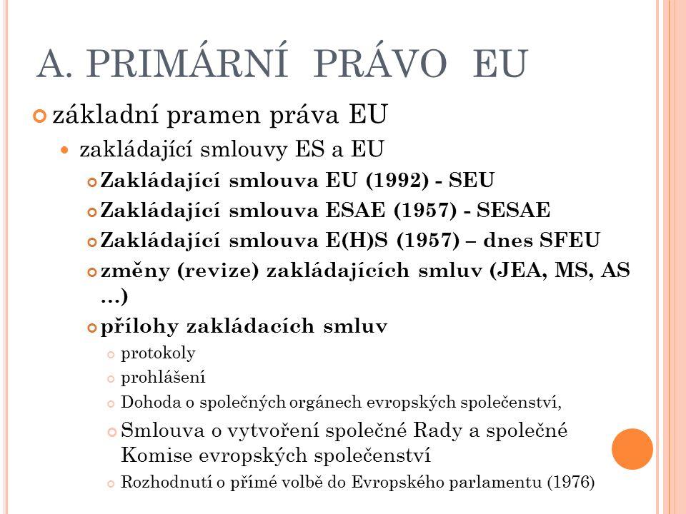 A. PRIMÁRNÍ PRÁVO EU základní pramen práva EU zakládající smlouvy ES a EU Zakládající smlouva EU (1992) - SEU Zakládající smlouva ESAE (1957) - SESAE