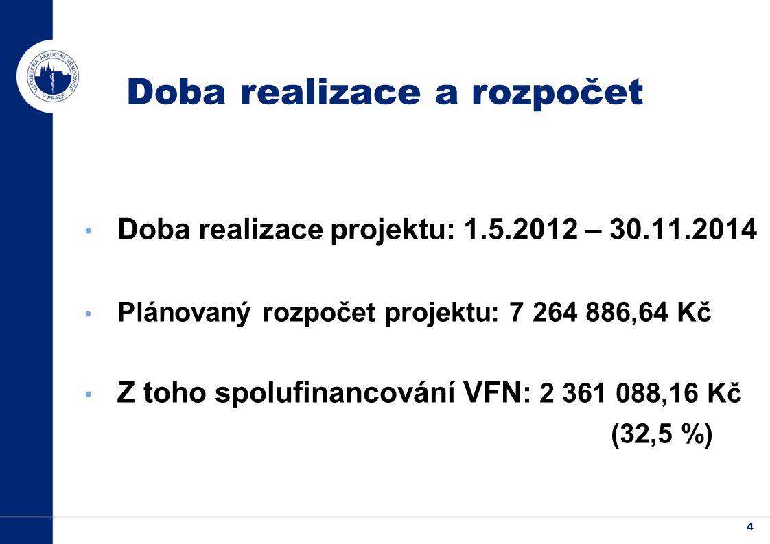 4 Doba realizace a rozpočet Doba realizace projektu: 1.5.2012 – 30.11.2014 Plánovaný rozpočet projektu: 7 264 886,64 Kč Z toho spolufinancování VFN: 2 361 088,16 Kč (32,5 %)