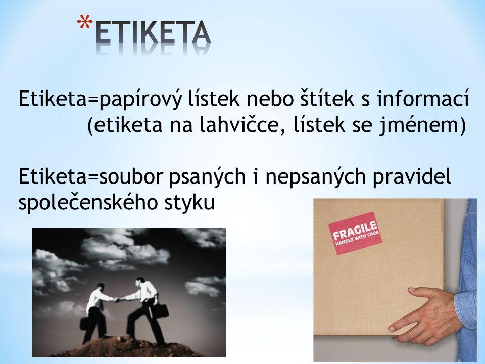 Etiketa=papírový lístek nebo štítek s informací (etiketa na lahvičce, lístek se jménem) Etiketa=soubor psaných i nepsaných pravidel společenského styku
