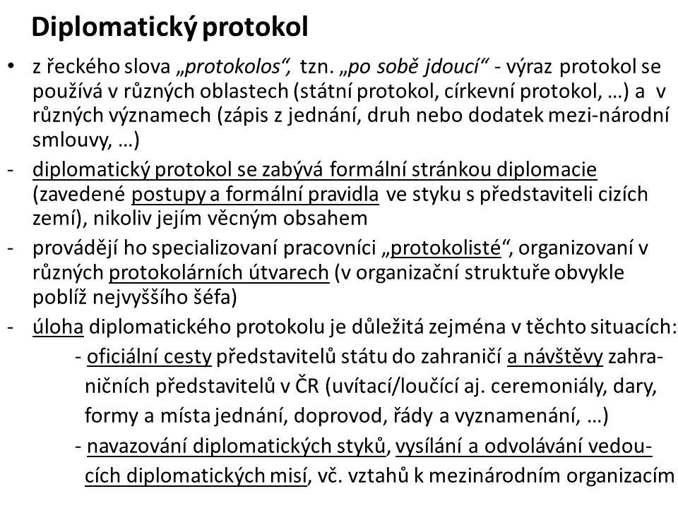 """Diplomatický protokol z řeckého slova """"protokolos"""", tzn. """"po sobě jdoucí"""" - výraz protokol se používá v různých oblastech (státní protokol, církevní p"""