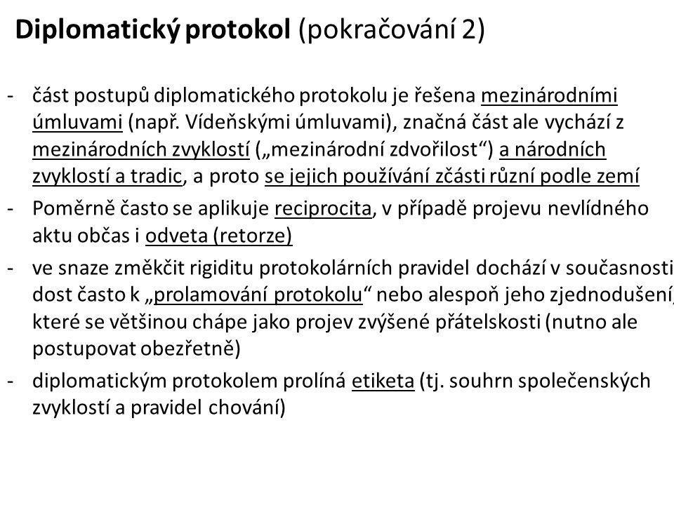 Diplomatický protokol (pokračování 2) -část postupů diplomatického protokolu je řešena mezinárodními úmluvami (např. Vídeňskými úmluvami), značná část