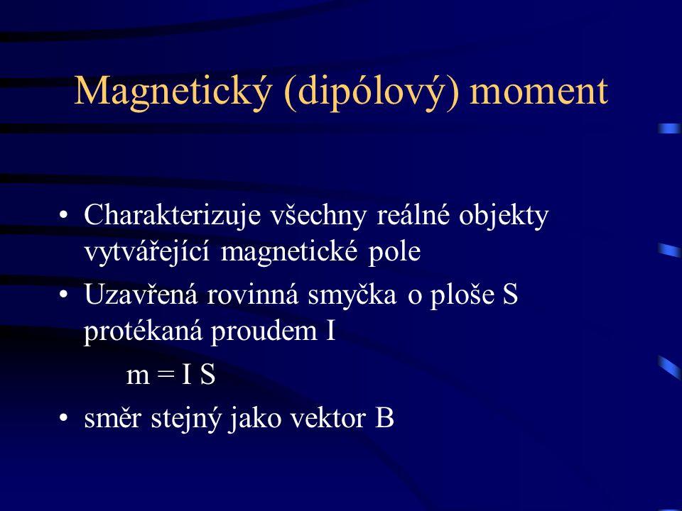 Magnetický (dipólový) moment Charakterizuje všechny reálné objekty vytvářející magnetické pole Uzavřená rovinná smyčka o ploše S protékaná proudem I m = I S směr stejný jako vektor B