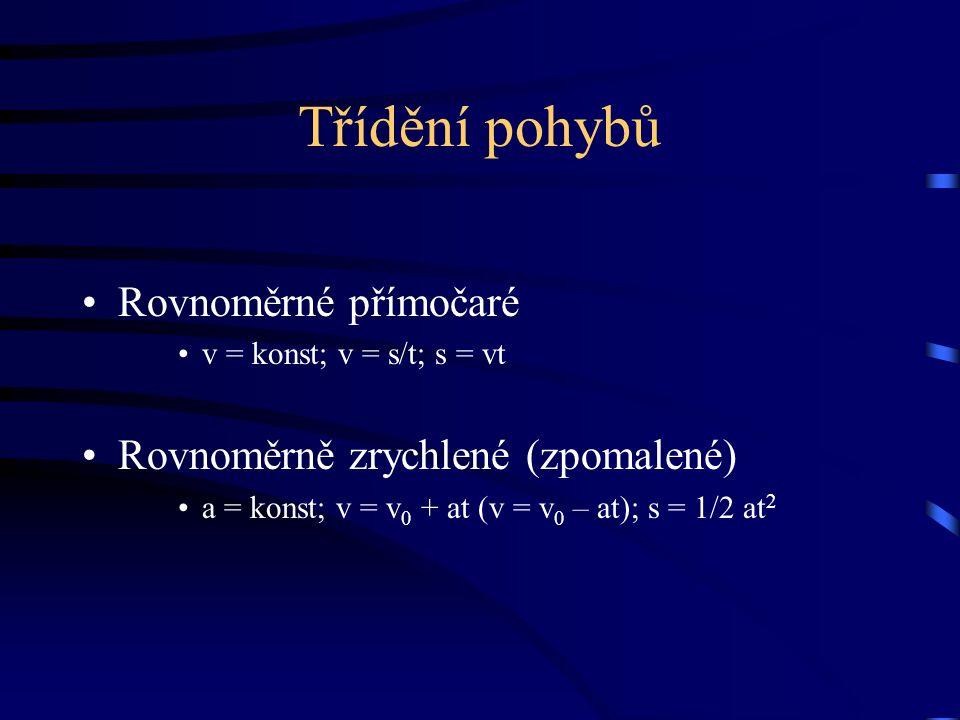 Třídění pohybů Rovnoměrné přímočaré v = konst; v = s/t; s = vt Rovnoměrně zrychlené (zpomalené) a = konst; v = v 0 + at (v = v 0 – at); s = 1/2 at 2