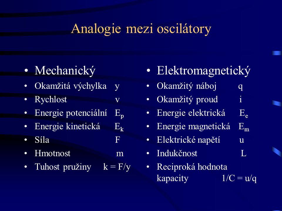 Analogie mezi oscilátory Mechanický Okamžitá výchylka y Rychlost v Energie potenciální E p Energie kinetická E k Síla F Hmotnost m Tuhost pružiny k = F/y Elektromagnetický Okamžitý náboj q Okamžitý proud i Energie elektrická E e Energie magnetická E m Elektrické napětí u Indukčnost L Reciproká hodnota kapacity 1/C = u/q