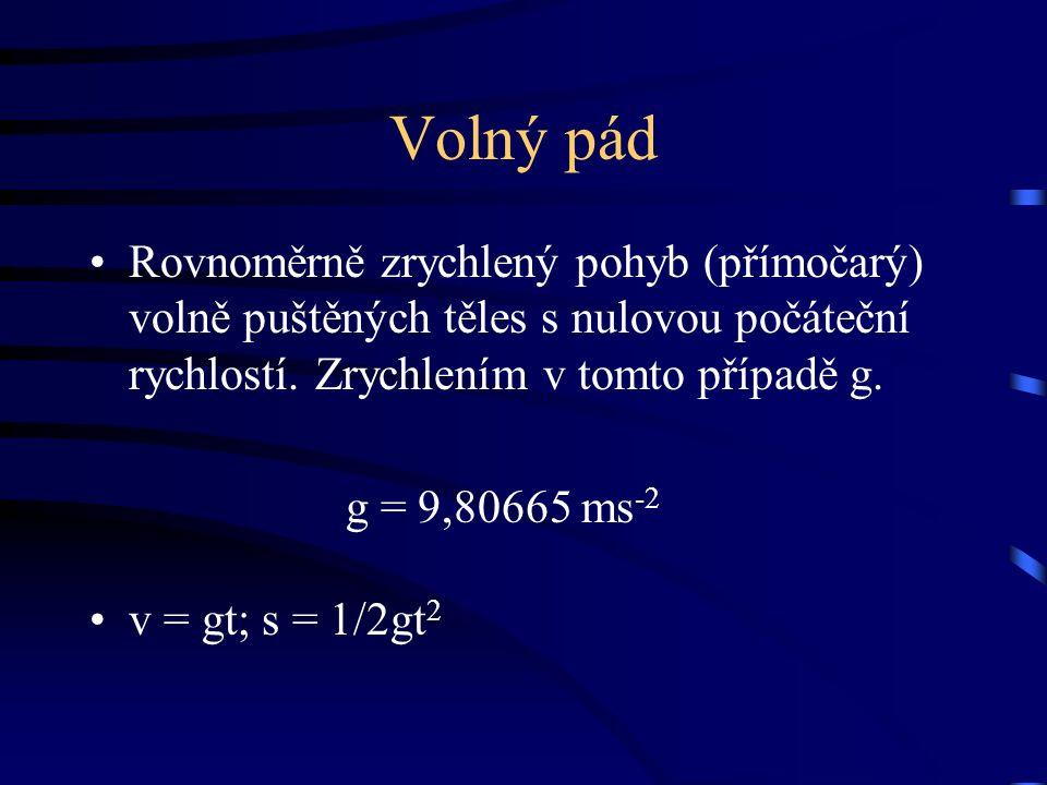 Volný pád Rovnoměrně zrychlený pohyb (přímočarý) volně puštěných těles s nulovou počáteční rychlostí.