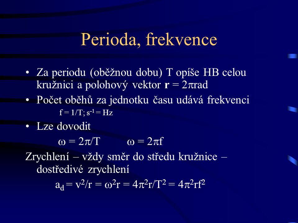 Perioda, frekvence Za periodu (oběžnou dobu) T opíše HB celou kružnici a polohový vektor r = 2  rad Počet oběhů za jednotku času udává frekvenci f = 1/T; s -1 = Hz Lze dovodit  = 2  /T  = 2  f Zrychlení – vždy směr do středu kružnice – dostředivé zrychlení a d = v 2 /r =  2 r = 4  2 r/T 2 = 4  2 rf 2